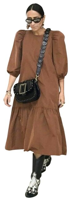 Item - Brown Voluminous Taffeta Long Casual Maxi Dress Size 4 (S)