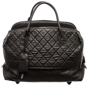 Chanel Luggage Lambskin Rolling Luggage Black Travel Bag