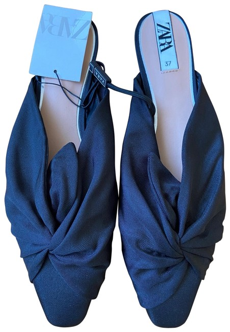 Item - Black Fabric Mules with Knot Flats Size EU 37 (Approx. US 7) Regular (M, B)