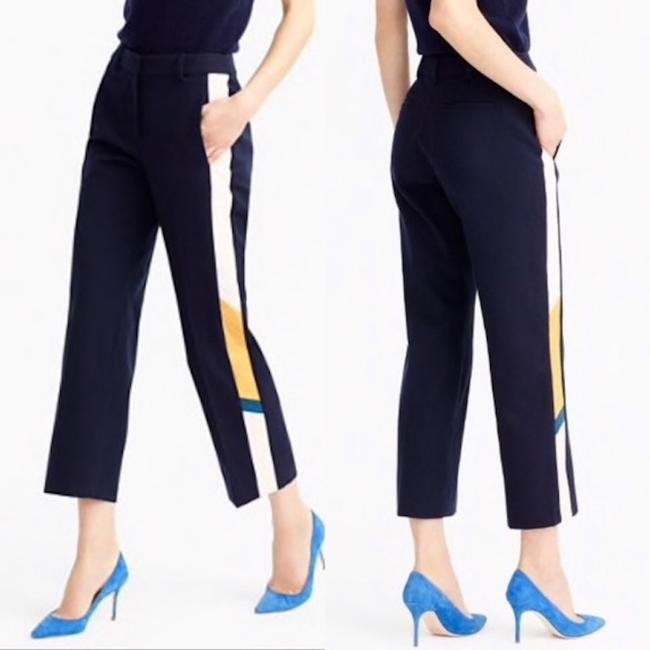 J.Crew Blue Navy Collection Patio with Snakeskin Tux Stripe Pants Size 6 (S, 28) J.Crew Blue Navy Collection Patio with Snakeskin Tux Stripe Pants Size 6 (S, 28) Image 1