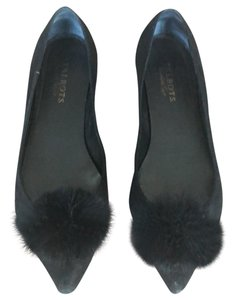 Talbots Pompom Pointed Toe Black Suede Flats