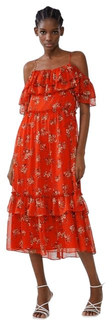 Item - Maroon Red Floral Printed with Ruffled Details Mid-length Casual Maxi Dress Size 4 (S)