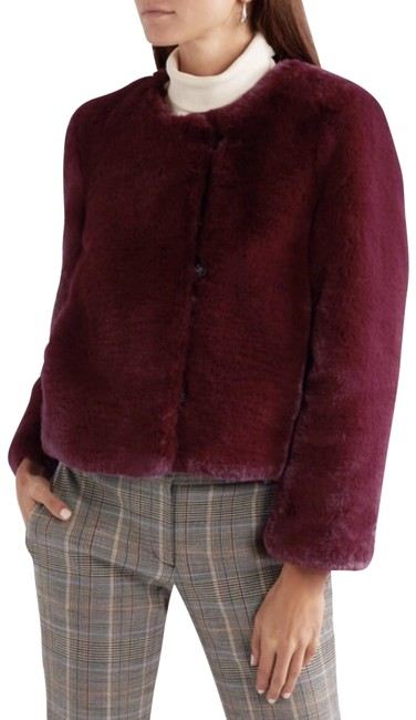 Item - Red Cropped Faux Jacket Maroon Vivid Burgundy Crop Coat Size 12 (L)