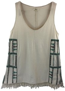 Madewell Embroidered Fringe Size S Blouse Top White