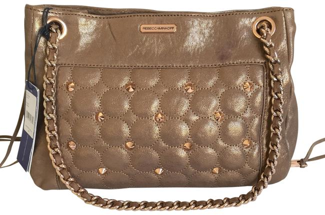 Item - Studded Quilted Swing Convertible Chain Strap Gold Leather Shoulder Bag