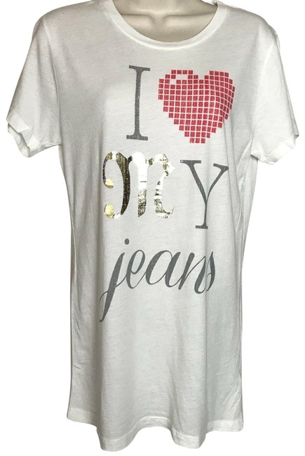 Item - White I Love My Jeans Tee Shirt Size 12 (L)
