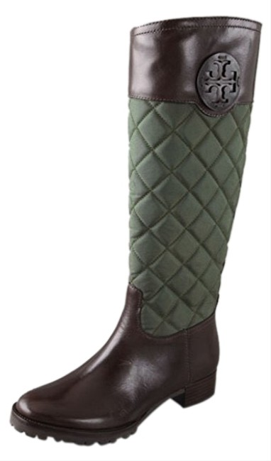 Item - Hunter Green and Brown Rowan Quilted Boots/Booties Size US 5 Regular (M, B)