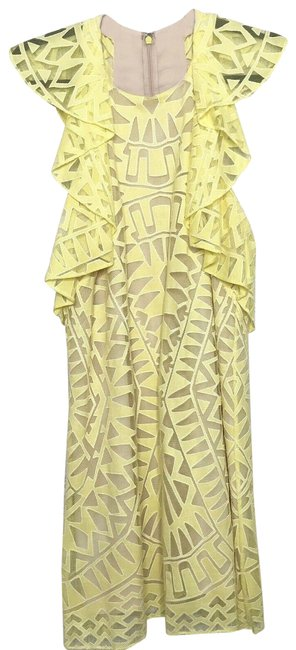 Item - Yellow Jenni Ruffle-shoulder Racerback Short Cocktail Dress Size 2 (XS)