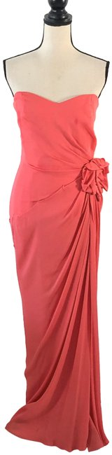 Item - Coral Strapless Gown Long Formal Dress Size 10 (M)
