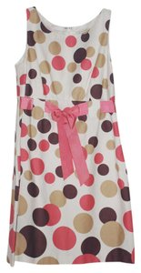 Kim Roggers short dress multi Polka Dot Pink Brown Tan Pink Ribbon Ribbon Belt Baby Doll Chic Cute Peite on Tradesy
