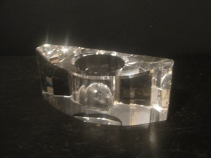 Oleg Cassini Clear Crystal Signed Candle/Tealight Holder