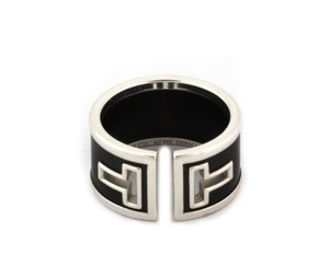 Tiffany & Co. T Cut Out Sterling Silver Black Ceramic Wide Band Ring