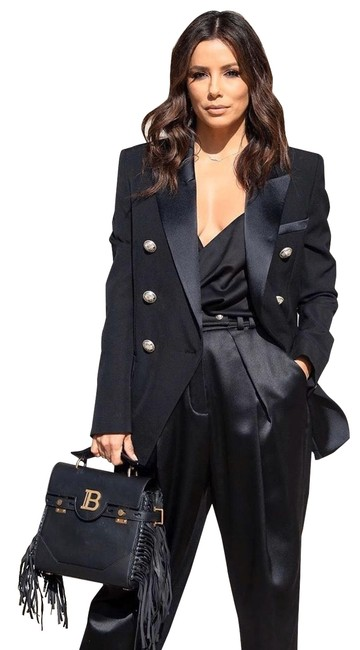 Item - Black Double-breasted Belted Crepe Gold Hardware Blazer Size 0 (XS)
