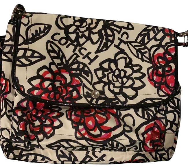 Item - Coach Roses Black Off White and Red Satin Cross Body Bag