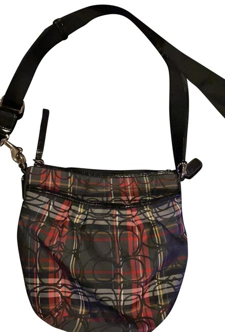 Item - Black Red White Yellow and Gray Plaid with The Symbol Cross Body Bag