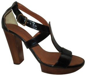 Bettye Muller Patent Leather Leather Sandals Strappy Onm003 black & brown Platforms