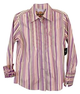 Robert Graham Embroidered Pleated Button Down Shirt Purple & Green