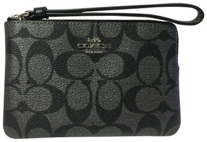 Coach Canvas Leater Wristlet in BLACK/SILVER
