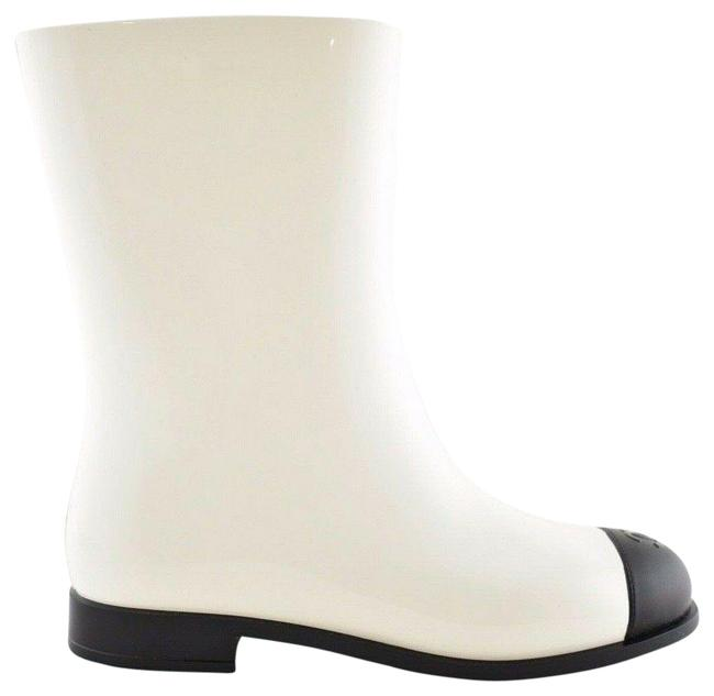 Item - White 19c Black Cc Logo Pvc Rubber Winter Snow Short Rain Boots/Booties Size EU 38 (Approx. US 8) Regular (M, B)