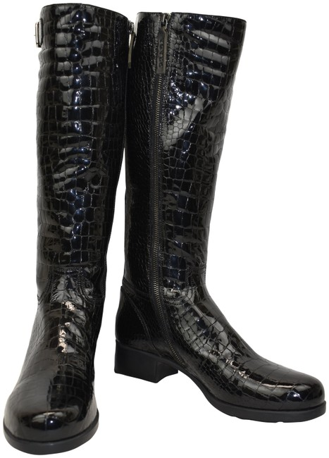 Item - Black Leather Croc Print Buckle Zip Knee High Tall Italy Boots/Booties Size EU 39 (Approx. US 9) Regular (M, B)