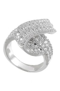 Kenneth Jay Lane CZ By Kenneth Jay Lane Pave CZ North South Bow Ring