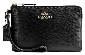 Coach Gift Box Leather Leather Wristlet in Black
