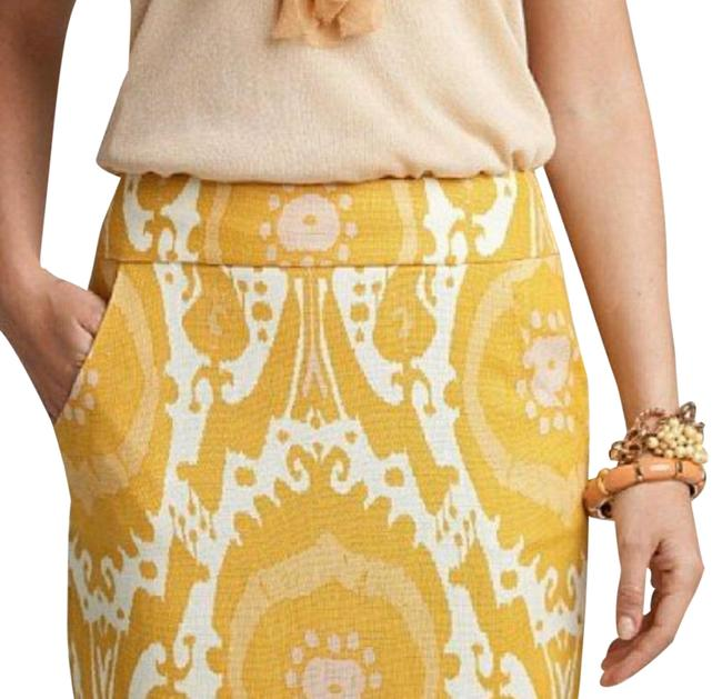 Item - Yellow with White and Pink Linen Ochre Ikat Print Pencil Skirt Size 0 (XS, 25)