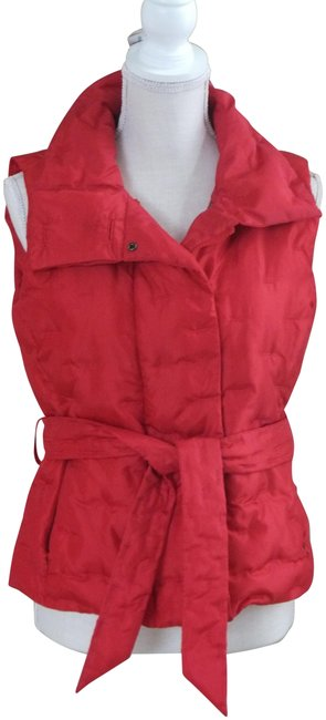 Item - Red W Small Quilted Goose Down Blend W/ Belt Vest Size Petite 4 (S)