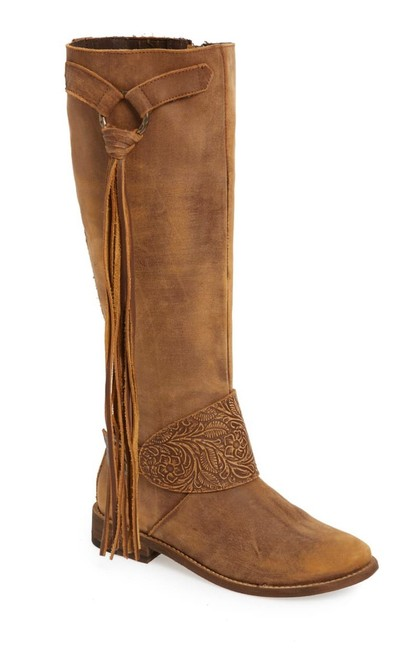 Item - Brown Cobblestone Fringe Riding Boots/Booties Size US 7 Regular (M, B)