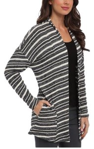 Three Dots Open Front Pockets Cotton Striped Longsleeve Cardigan