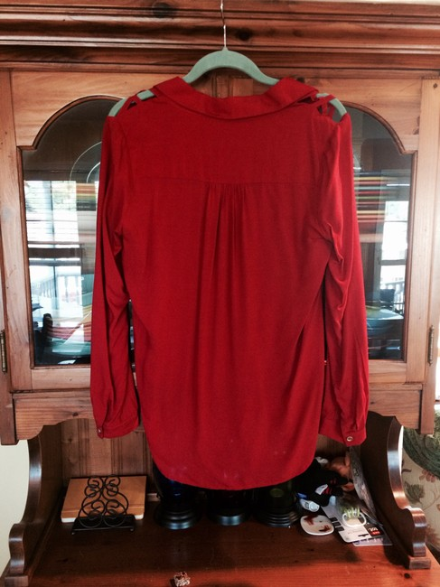 Pink Martini Button Down Going Out High Lo Boutique Contemporary Top Red