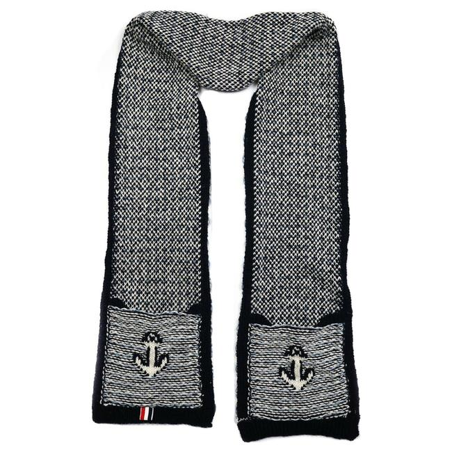 Item - Black & White Anchor Wool Knit Pockets Long Unisex Scarf/Wrap