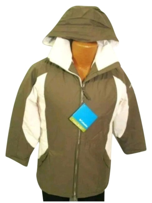 Item - Cream Brown Hooded Color Block Snowboarding Winter Waterproof Coat Size 6 (S)