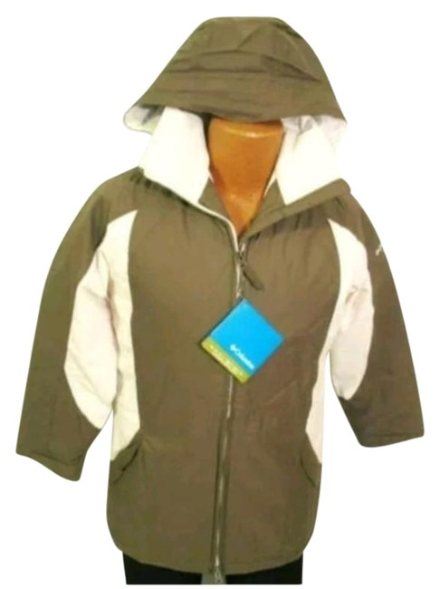 Item - Brown Cream Color Blocking Hooded Full Zip Snowboarding Waterproof Coat Size 8 (M)