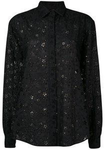 Saint Laurent Embroidered Button Front Collar Eyelet Top Black