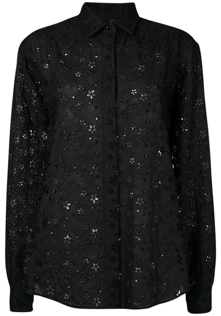 Item - Black Star Embroidered Eyelet Button Down Blouse Size 10 (M)