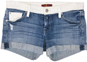 7 For All Mankind Two-tone Ballerina Cuffed Shorts Blue
