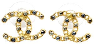 Chanel Chanel Brand New Gold CC Chain Black Crystal Piercing Earrings