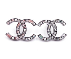 Chanel Chanel Brand New Silver CC Pearl Baguette Crystal Large Piercing Earri