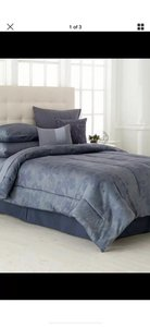 Calvin Klein Gray/ Blue Queen Comforter and Two Standard Shams. Other