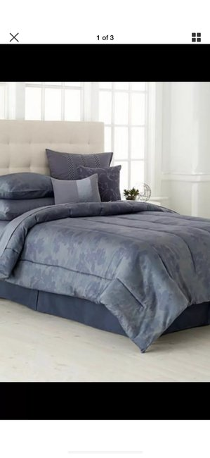 Item - Gray/ Blue Queen Comforter and Two Standard Shams. Other
