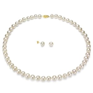 Mother of Pearl White 8mm Sea Shell 14k Filled Clasp Earrings Set Necklace