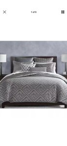 Silver Gray Woven Diamond King Duvet Cover and Two Standard Shams. Other