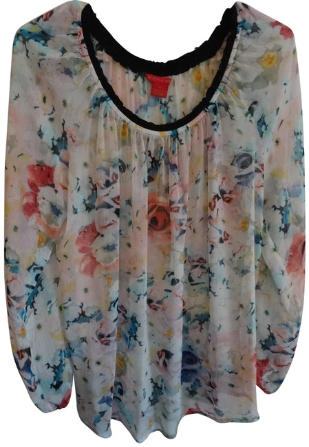 Sunny Leigh White W/Colored Flowers Blouse Size 12 (L) Sunny Leigh White W/Colored Flowers Blouse Size 12 (L) Image 1