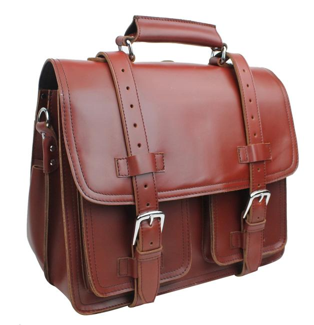 """Item - 16"""" Ceo Heavy Duty Full Large Briefcase L33 Reddish Brown Leather Backpack"""