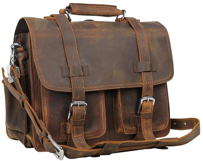 """Item - 16"""" Ceo Heavy Duty Full Large Briefcase L33 Vintage Brown Leather Backpack"""