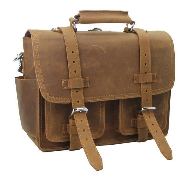 """Item - 16"""" Ceo Heavy Duty Briefcase Gym/Travel Tote L34 Brown Leather Backpack"""