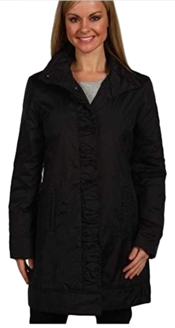 Item - Black Mid Length Dressy Ruffle Placket Night Out Career Business Coat Size 6 (S)