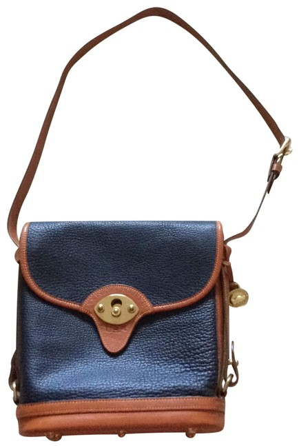 Item - Dooney&bourka Cavalry Spectator Navy and Brown All Weather Leather Cross Body Bag