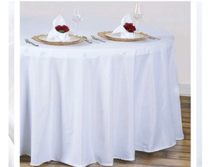 White 120' Round Polyester Tablecloth
